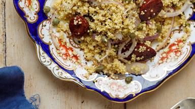 Millet couscous with red onion, capers, lemon and chorizo