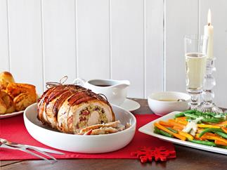 Turkey breast with cranberry stuffing and red wine gravy