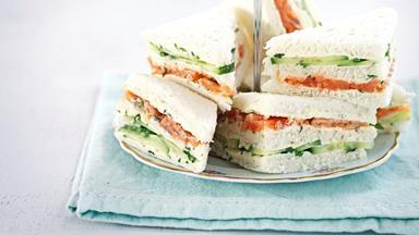 Smoked salmon and caper cream sandwiches