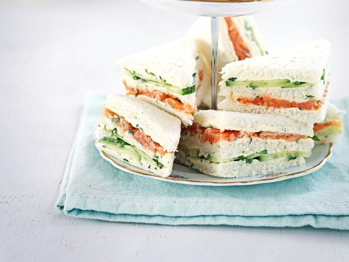 "**[Smoked salmon and caper cream sandwiches](https://www.womensweeklyfood.com.au/recipes/smoked-salmon-and-caper-cream-sandwiches-27196|target=""_blank"")**"