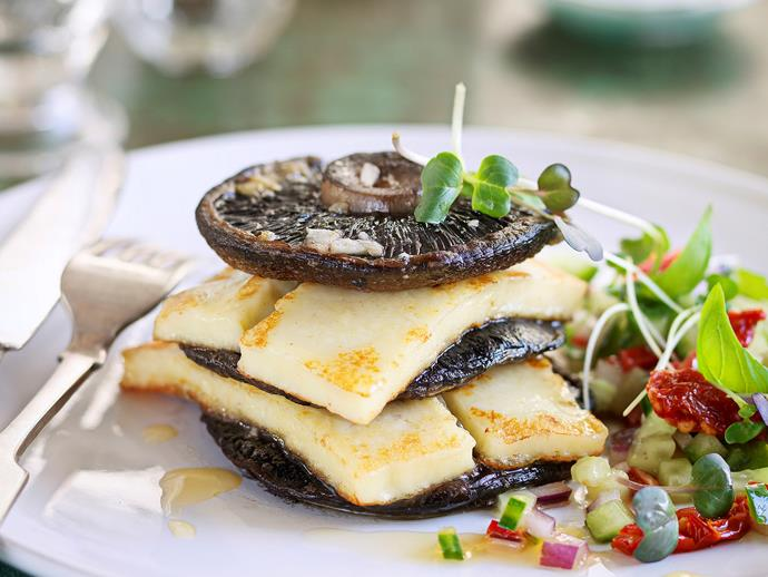 "[Baked field mushroom stack with haloumi and salsa](http://www.foodtolove.com.au/recipes/baked-field-mushroom-stack-with-haloumi-and-salsa-15449|target=""_blank"")"