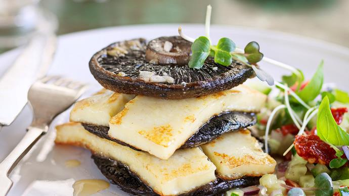 Baked field mushroom stack with haloumi and salsa
