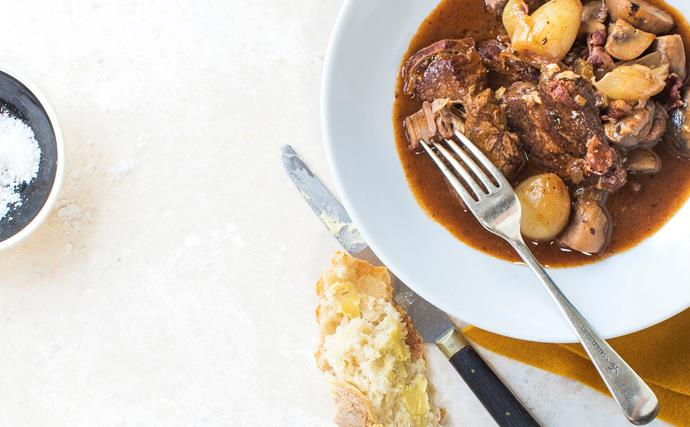 Rich and tender beef bourguignon