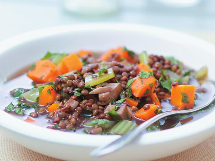 """**[Lentil and vegetable soup](https://www.womensweeklyfood.com.au/recipes/lentil-and-vegetable-soup-14715 target=""""_blank"""")**  French green lentils have a sensational nutty, earthy flavour and stand up well to being boiled without becoming muddy. Don't be tempted to skip the the celery leaves. They add incredible flavour to this detoxifying soup."""