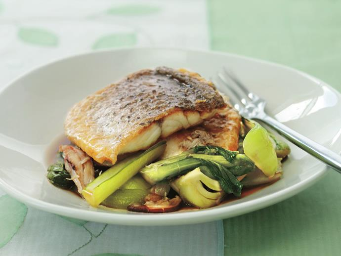 """[Barramundi with stir-fried shiitake mushrooms and Asian greens](https://www.womensweeklyfood.com.au/recipes/barramundi-with-stir-fried-shiitake-mushrooms-and-asian-greens-14723