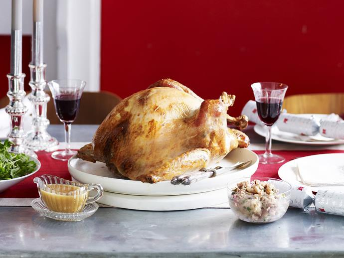 """**[Traditional Christmas turkey with forcemeat stuffing](https://www.womensweeklyfood.com.au/recipes/traditional-christmas-turkey-with-forcemeat-stuffing-14783 target=""""_blank"""")**  You just can't go wrong with this traditional Christmas turkey with forcemeat stuffing of onion, bacon, pork, chicken, breadcrumbs, parsley, pistachios and tarragon."""