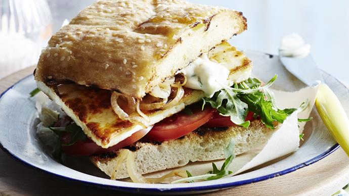 HARISSA HALOUMI BURGERS WITH LEMON MINT MAYONNAISE
