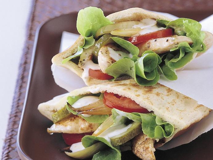 "Filled with vegies and a delicious mustard mayonnaise, these [chicken pita pockets](https://www.womensweeklyfood.com.au/recipes/chicken-pita-pockets-14804|target=""_blank"") are simple and satisfying."