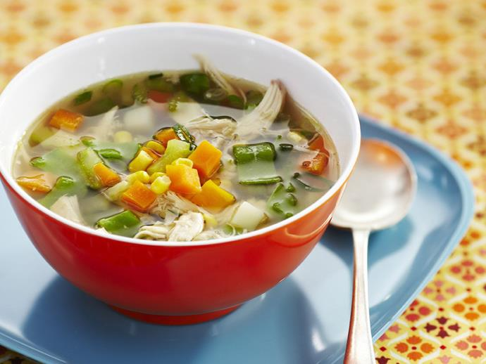 """Chock full of vegetables, this hearty [chicken and vegetable soup](https://www.womensweeklyfood.com.au/recipes/chicken-and-vegetable-soup-15314