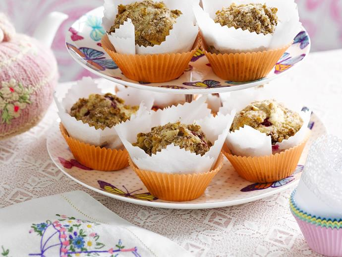 """Sprinkled with a crunchy walnut topping, these [fluffy raspberry muffins](https://www.womensweeklyfood.com.au/recipes/crunchy-raspberry-muffins-14826