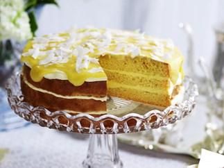 lemon yogurt cake with lemon curd frosting