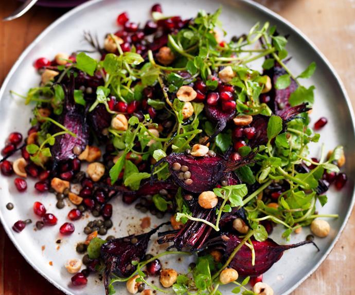 baby beetroot, green lentil, watercress and hazelnut salad