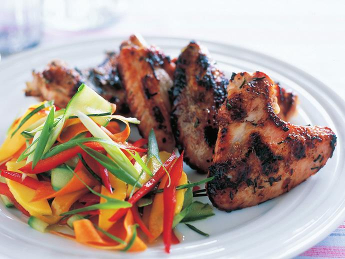 "**[Chicken wings and green mango salad](https://www.womensweeklyfood.com.au/recipes/chicken-wings-and-green-mango-salad-14892|target=""_blank"")**"