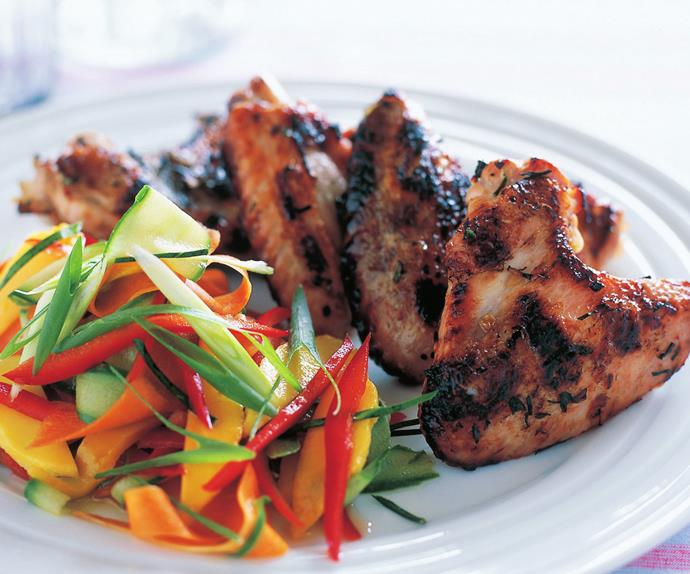 chicken wings and green mango salad
