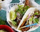 Spiced fish tacos with slaw and avocado cream