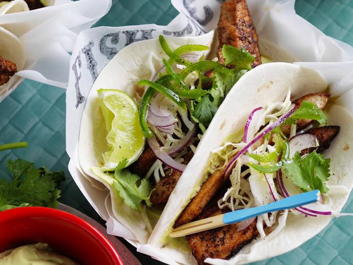 "**[Spiced fish tacos with slaw and avocado cream](https://www.womensweeklyfood.com.au/recipes/spiced-fish-tacos-with-slaw-and-avocado-cream-14907|target=""_blank""):**   Make these as spicy as you like by adjusting the cayenne pepper, and slathering them with fresh slaw and avocado cream. Ling, blue-eye, coral trout, or mahi mahi are all perfect choices here."