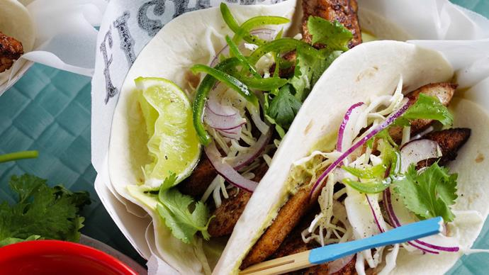 JERK FISH TACOS with SLAW& AVOCADO CREAM