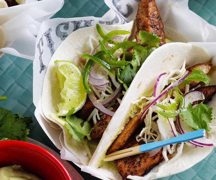 JERK FISH TACOS with SLAW& AVOCADO CREAM