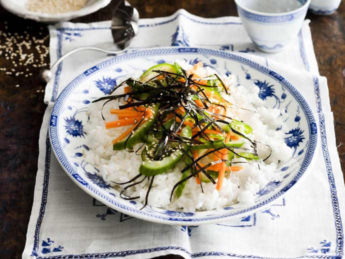 """**[Japanese rice salad with green chilli dressing](https://www.womensweeklyfood.com.au/recipes/japanese-rice-salad-with-green-chilli-dressing-14964