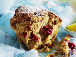 berry, ricotta and mint muffins