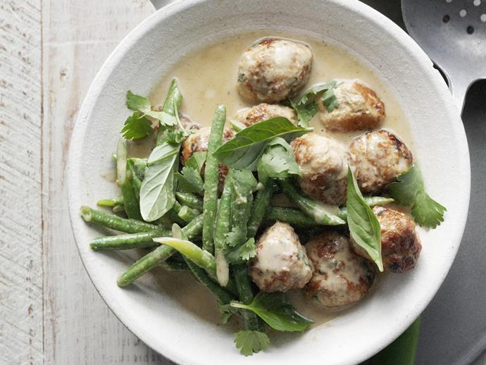 "[**Pork meatball green curry**](https://www.womensweeklyfood.com.au/recipes/pork-meatball-green-curry-6221|target=""_blank"")  This dish is the perfect summer curry. Not too rich but packed to the brim with flavour. You'll be going back for seconds every time."