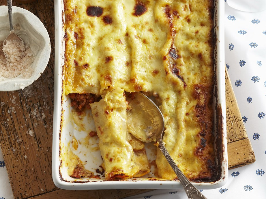"Our **[bolognese cannelloni](https://www.womensweeklyfood.com.au/recipes/bolognese-cannelloni-15335|target=""_blank"")** is delightfully similar to a spag bol, but oh so much cheesier!"