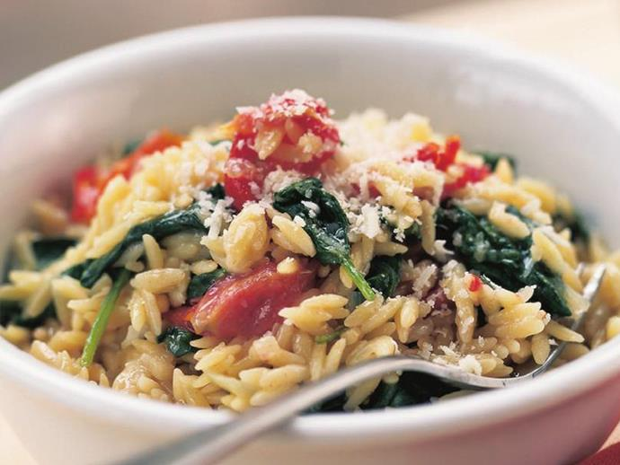 """**[Risoni with spinach & semi-dried tomatoes](https://www.womensweeklyfood.com.au/recipes/risoni-with-spinach-and-semi-dried-tomatoes-6236