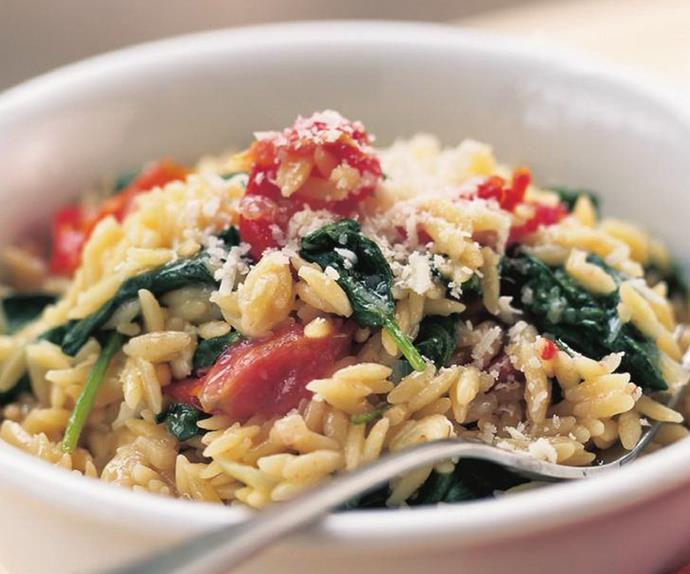 risoni with spinach & semi-dried tomatoes