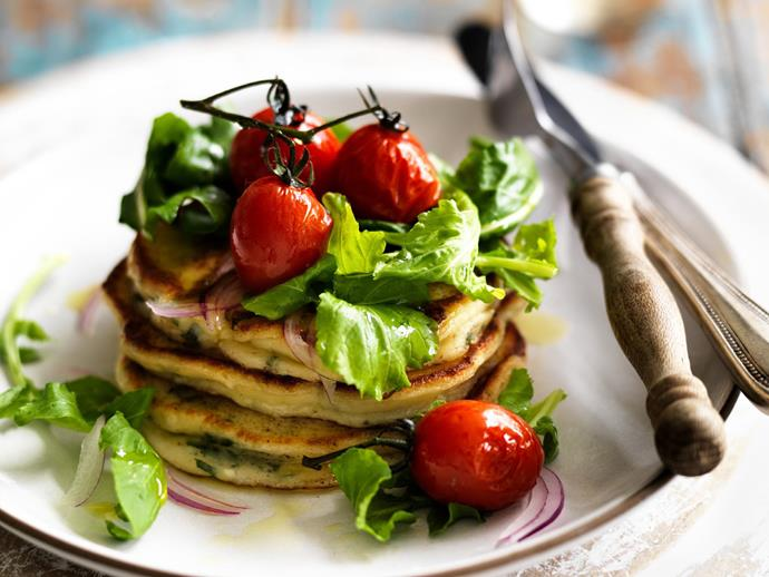 """**[Ricotta and basil pancakes with tomato and rocket salad](https://www.womensweeklyfood.com.au/recipes/ricotta-and-basil-pancakes-with-tomato-and-rocket-salad-6242
