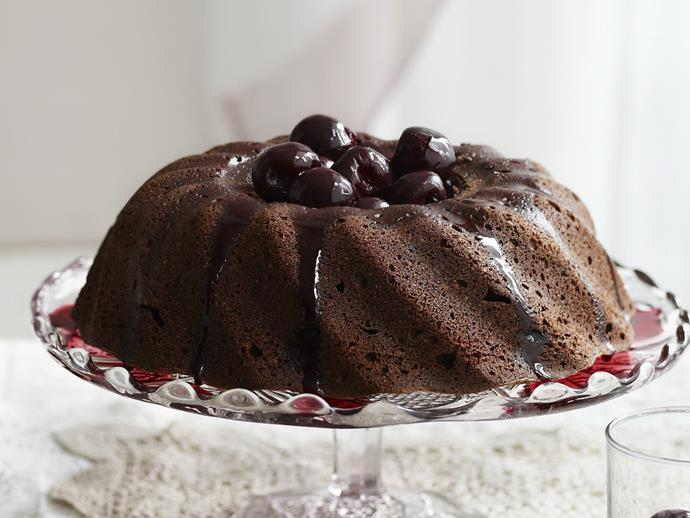 """**[Chocolate cinnamon cake with cherry and red wine syrup](https://www.womensweeklyfood.com.au/recipes/chocolate-cinnamon-cake-with-cherry-and-red-wine-syrup-6249