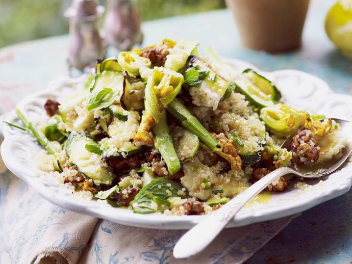 "**[Zucchini quinoa salad with candied walnuts and haloumi](http://www.womensweeklyfood.com.au/recipes/zucchini-quinoa-salad-with-candied-walnuts-and-haloumi-14555|target=""_blank"")**"