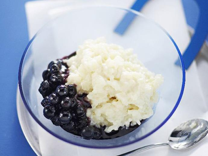 """**[Rice pudding with blueberry compote](https://www.womensweeklyfood.com.au/recipes/rice-pudding-with-blueberry-compote-6285 target=""""_blank"""")**"""