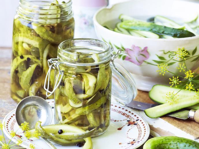 "**[Pickled gherkins](http://www.womensweeklyfood.com.au/recipes/pickled-gherkins-6300 target=""_blank"")**"