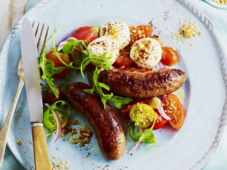 lamb sausages with labne, dukkah and tomato salad