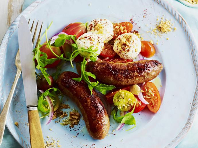 "**[Lamb sausages with labne, dukkah and tomato salad](https://www.womensweeklyfood.com.au/recipes/lamb-sausages-with-labne-dukkah-and-tomato-salad-14632|target=""_blank"")**  These sausages with a difference make a great dish for a relaxed meal with friends, allowing you to serve something special that isn't formal."