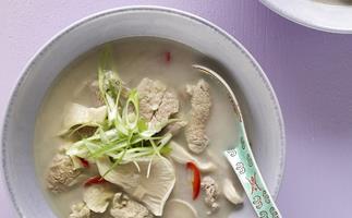coconut and lemon grass pork and mushroom soup