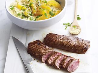 harissa lamb with orange couscous