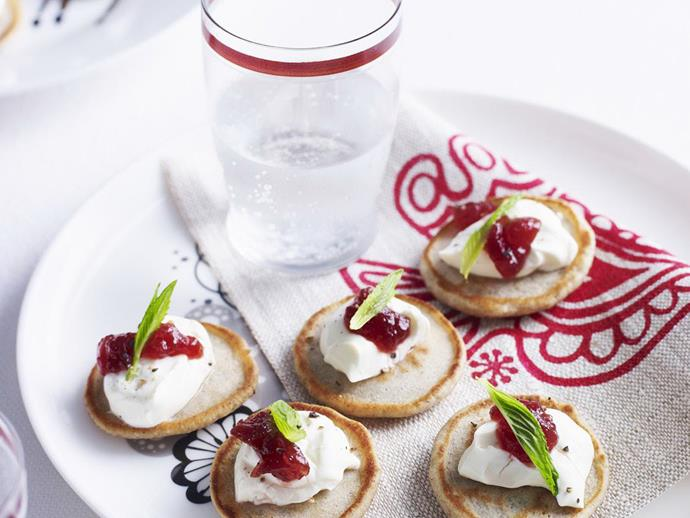 """**[Blinis with goat's cheese](https://www.womensweeklyfood.com.au/recipes/blinis-with-goats-cheese-14100 target=""""_blank"""")**  Wow your guests with these delightful canapés."""