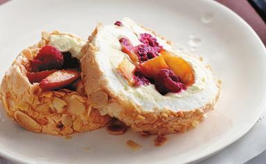 Peach and raspberry meringue roll