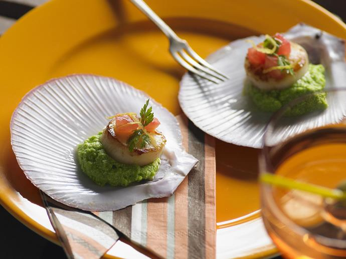 "**[Scallops with pea puree](https://www.womensweeklyfood.com.au/recipes/scallops-with-pea-puree-5928|target=""_blank"")**"