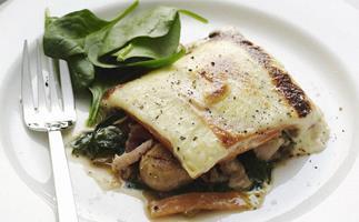 kumara, silver beet and mushroom bake