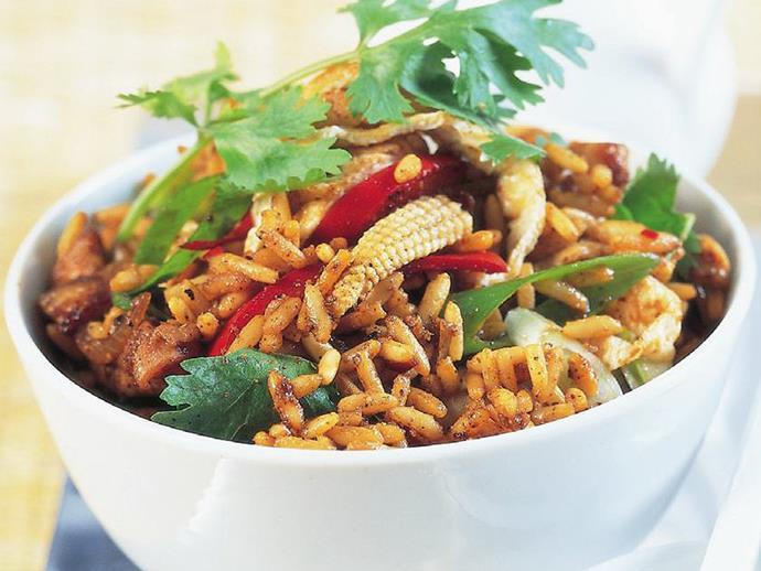 "**[Spicy chicken fried rice](https://www.womensweeklyfood.com.au/recipes/spicy-chicken-fried-rice-14144|target=""_blank"")**"