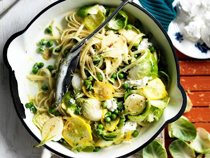 "**[Baby vegetable linguine](https://www.womensweeklyfood.com.au/recipes/baby-vegetable-linguine-14156|target=""_blank"")**  This vibrant pasta dish is bursting with flavour and nutrition."