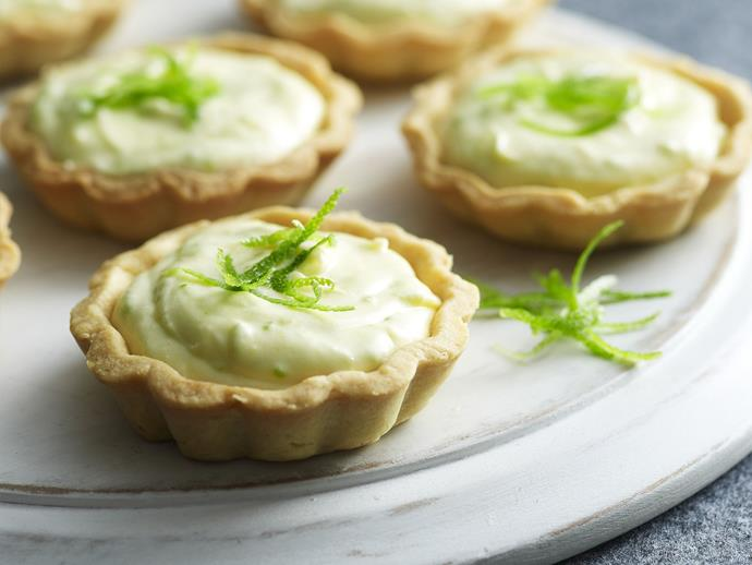 """**[White chocolate, lime and ginger mousse tarts](https://www.womensweeklyfood.com.au/recipes/white-chocolate-lime-and-ginger-mousse-tarts-14256