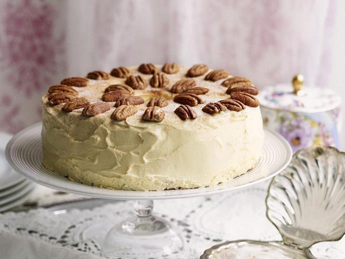 "**[Caramel angel food cake with sugared pecans](https://www.womensweeklyfood.com.au/recipes/caramel-angel-food-cake-with-sugared-pecans-14264|target=""_blank"")**"