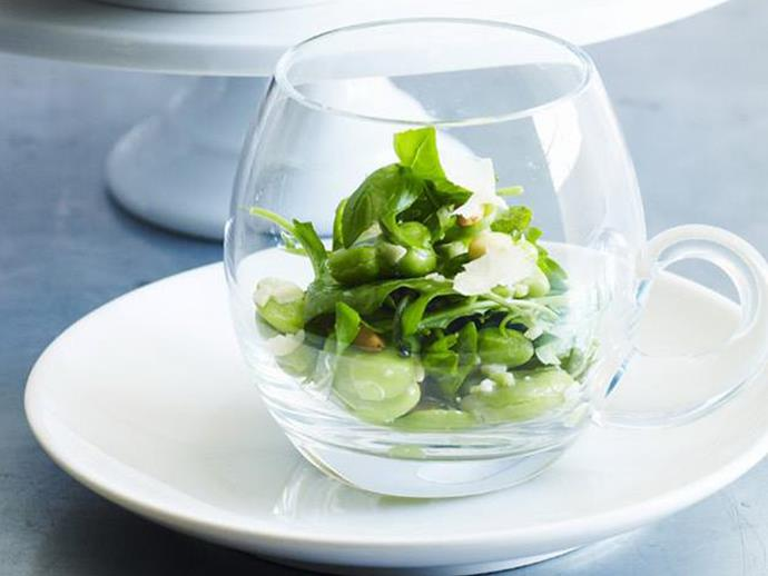 """**[Broad bean, pinenut and rocket salad](http://www.womensweeklyfood.com.au/recipes/broad-bean-pinenut-and-rocket-salad-14268