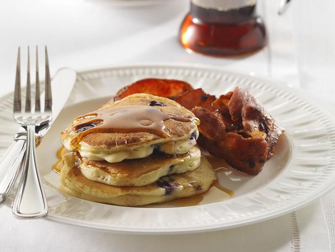 """[Blueberry pancakes with bacon recipe.](http://www.foodtolove.com.au/recipes/blueberry-pancakes-with-bacon-19683 target=""""_blank"""")"""