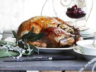 roast turkey with roast almond stuffing and spiced cherries
