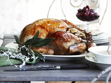 Roast turkey with almond stuffing, spiced cherries and gravy