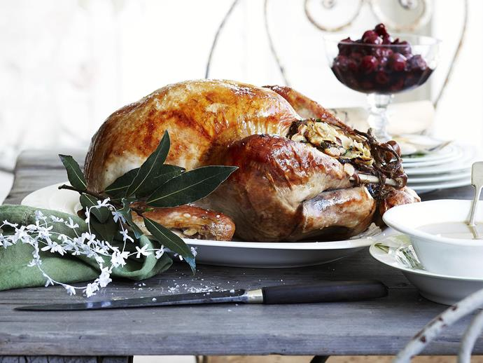 """**[Roast turkey with almond stuffing, spiced cherries and gravy](https://www.womensweeklyfood.com.au/recipes/roast-turkey-with-almond-stuffing-spiced-cherries-and-gravy-14292